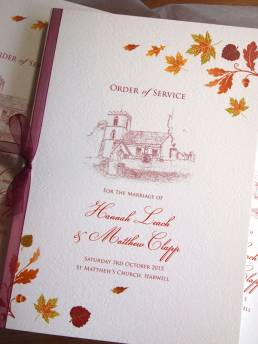 An order of service for an Autumn wedding with an illustration of the church venue