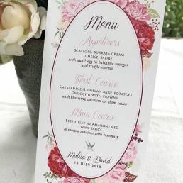 A menu for an Italian garden wedding