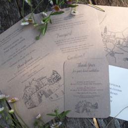 A rustic wedding invitation set
