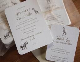 Safari wedding invitations and thank you cards