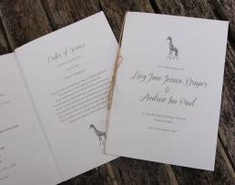An order of service booklet to match the Safari Wedding invitations