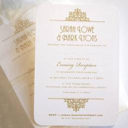 A wedding evening invitation in gold
