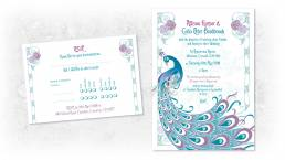 art nouveau wedding invitations header graphic with a peacock design