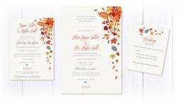 Autumn leaves wedding invitation with evening invite and rsvp