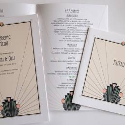 Bilingual wedding invitations for a wedding in Finland with Finnish text, with menu in Art Deco style