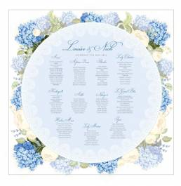 A square seating plan with a circle of hydrangea flowers