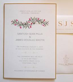 wedding invitation with a bougainvillea design