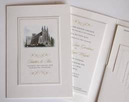 A classic wedding stationery folder and information sheets