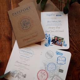Passport style destination wedding invitation