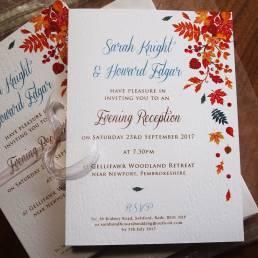 Seasonal wedding invitations for Autumn