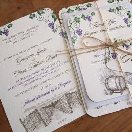 A South African vineyard wedding invitation and thank you card