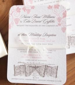 An evening invitation for a vineyard wedding
