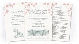 vineyard wedding invitation graphics with information sheets
