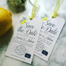 A save the date card for a wedding abroad