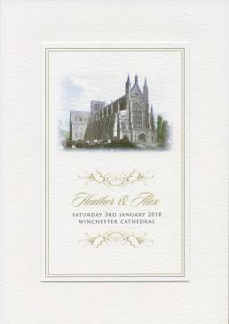 A classic wedding invitation folder for Winchester Cathedral
