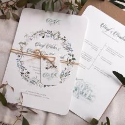 wedding invitation and itinerary