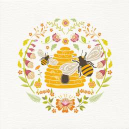 greetings card with bees and beehive