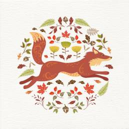 Greeting card design with a fox illustration