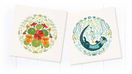 contemporary greetings card header with flower and animal cards