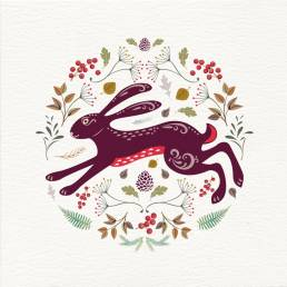 A christmas card with a hare illustration inspired by Scandinavian folk art