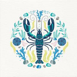 lobster graphics on front of greetings card