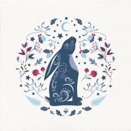 a moon gazing hare Christmas card