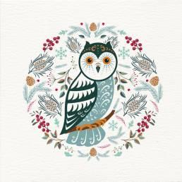 Owl Christmas card with a Scandi folk art style illustration