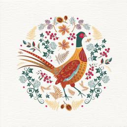 contemporary greeting card with pheasant design