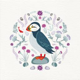 puffin illustration on front of greeting card