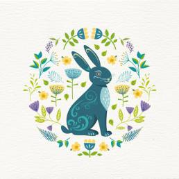 scandi style spring rabbit card