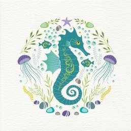 colourful seahorse illustration on the front of greeting card
