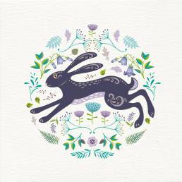 greetings card with summer hare illustration