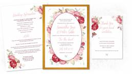 summer wedding invitations graphic with red and pink roses