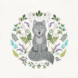 Scandi style wolf card