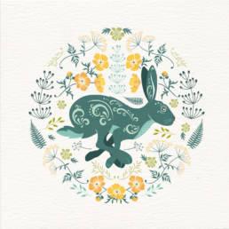 Meadow Hare greeting card